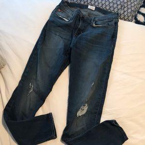 High-waist Hudson skinny jeans, distressed knees